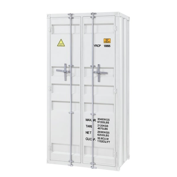 Double Door Storage Wardrobe with Recessed Panels and Cremone Bolts, White