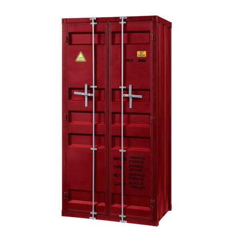 Double Door Metal Base Wardrobe with Cremone Bolts and Slated Pattern, Red
