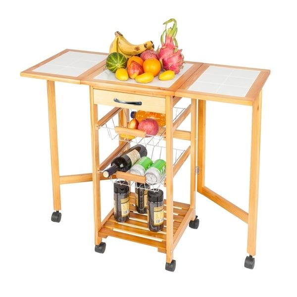 Portable Folding Kitchen Rolling Tile Top Drop Storage Trolley Cart