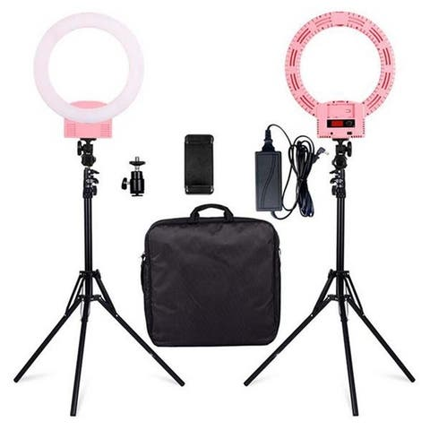 "12"" LED Ring Lights and 2m Light Stands US Standard Camera Lighting - Pink"