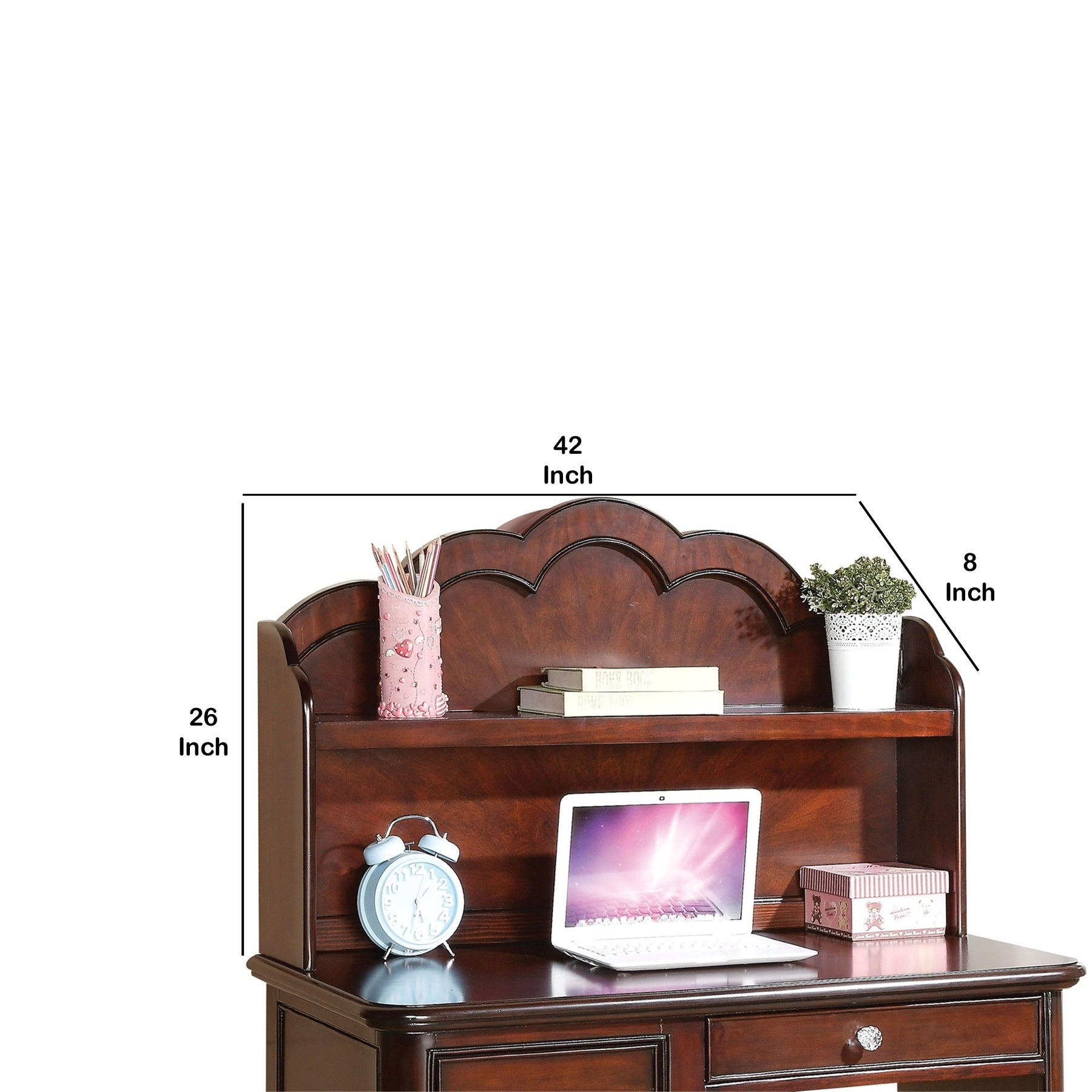 Arched top Wooden Computer Hutch with Open Shelf, Brown