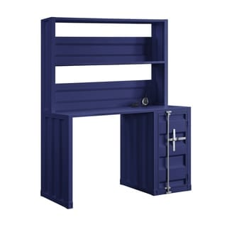Metal Base Dusk and Hutch with Storage Space and Recessed Panels, Blue