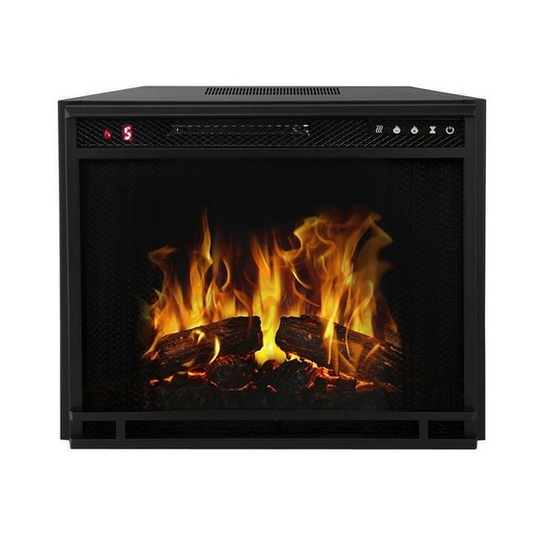 """Moda Flame 23"""" Flat Pebble, Crystal, Log Ventless Heater Electric Fireplace Insert, Black Frame - 3 Color Changing Settings"""