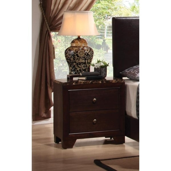 2-Drawer Nightstand with Faux Marble Top Cappuccino