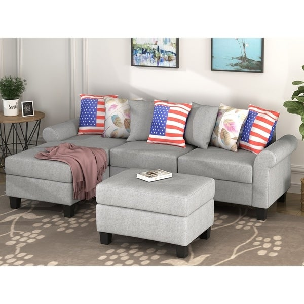 Harper & Bright Designs Contemporary Sectional Sofa with Ottoman
