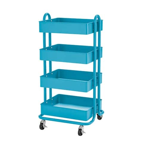 ECR4Kids® 4-Tier Utility Rolling Cart, Turquoise