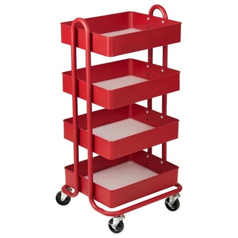 ECR4Kids® 4-Tier Utility Rolling Cart, Red