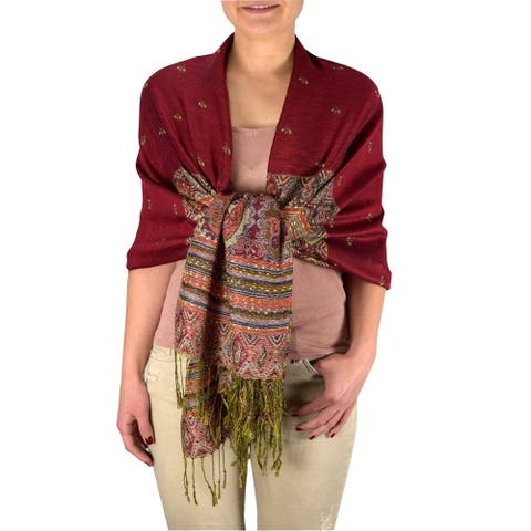Tribal Border Reversible Bohemian Pashmina Shawl Scarf