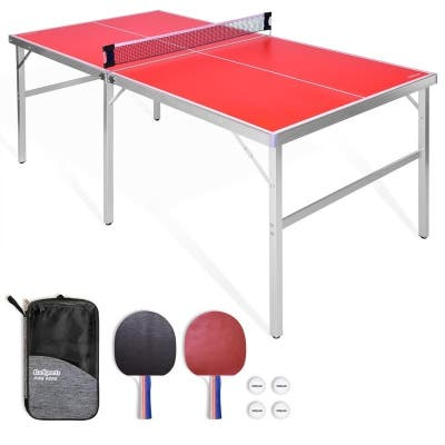 GoSports 6'x3' Mid-size Table Tennis Game Set