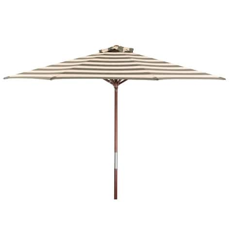 Premium Classic Wood 9 ft Round Stripe Market Umbrella