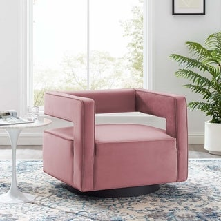 Link to Booth Performance Velvet Swivel Armchair Similar Items in Accent Chairs