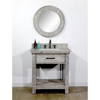 "30""Rustic Solid Fir Single Sink Bathroom Vanity  in Grey Driftwood Finish -No Faucet"