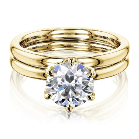 Annello by Kobelli 14k Gold 1.5 Carat Round Moissanite Solitaire 6-Prong Floating Tulip Head Comfort Fit Bridal Set