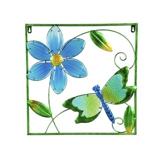 """17"""" x 17"""" Dragonfly Metal Outdoor Framed Wall Décor"""