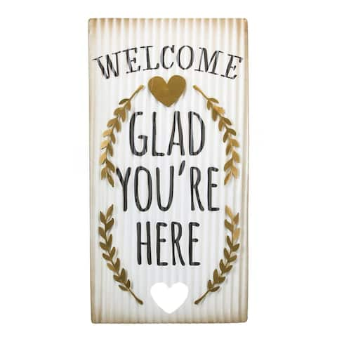 """""""Glad You're Here"""" Corrugated Metal Wall Art"""