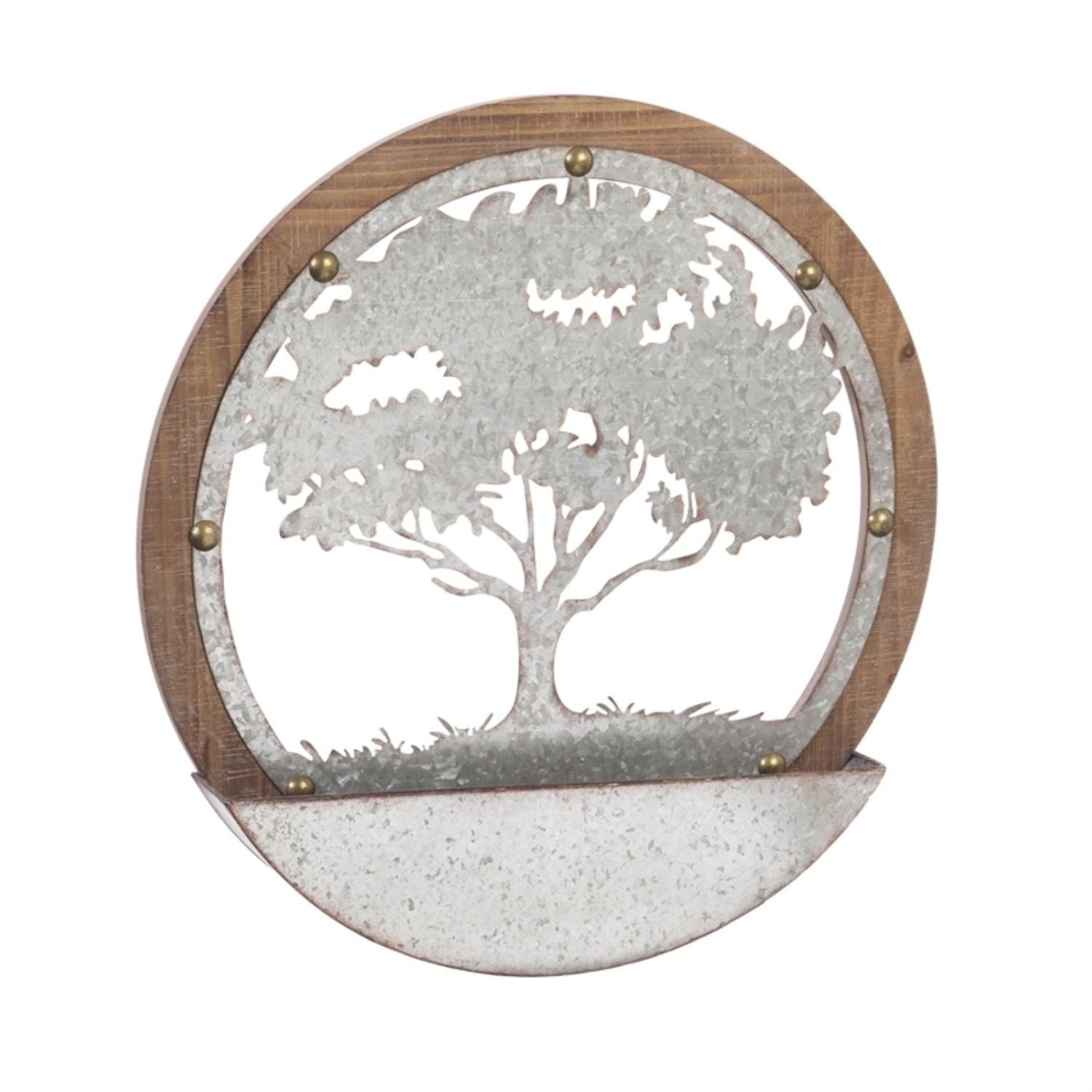 Tree Of Life Round Wood And Metal Wall Décor Overstock 30648773