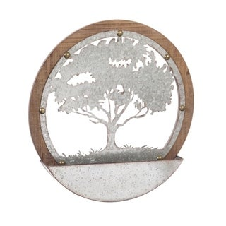Tree of Life Round Wood and Metal Wall Décor