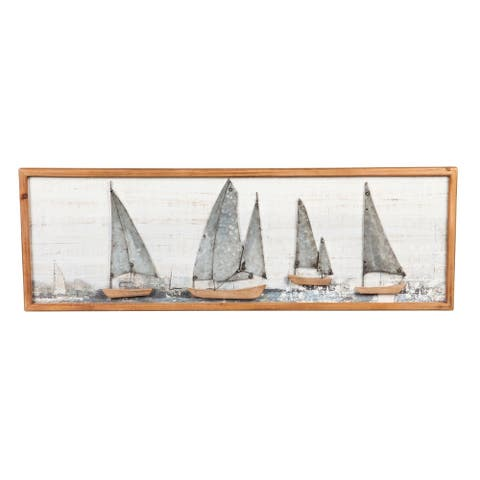"""36"""" x 12"""" Sail Boat Wood and Metal Wall Décor"""