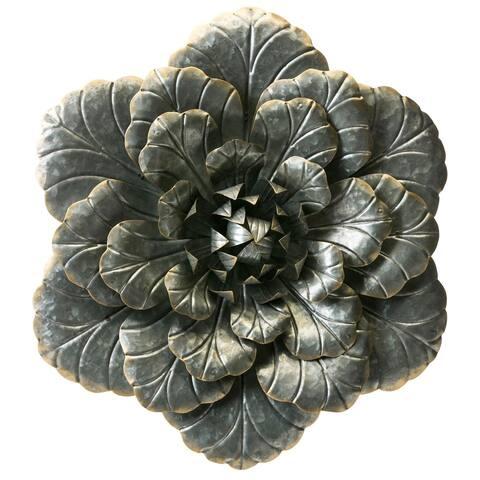 Dark Grey Galvanized Metal Flower w/ Gold Highlights