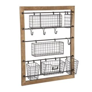 "24"" x 32"" Wood Wall Rack w/ Metal Wire Bins"