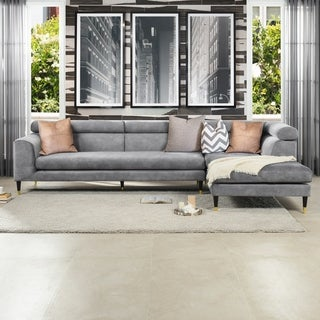 """Hayes RAF 2 Piece Modular Sectional Chaise Sofa by Sandy Wilson Home - 129.5""""L X 72.5""""W X 33.5""""H"""