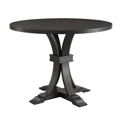 Copper Grove Southgate Distressed Round Black Counter-height Pedestal Dining Table