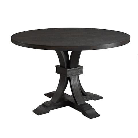 Siena Distressed Black Finish Round Pedestal Dining Table