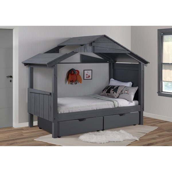 Twin Shack Low Loft with Drawers or Trundle in Dark Grey
