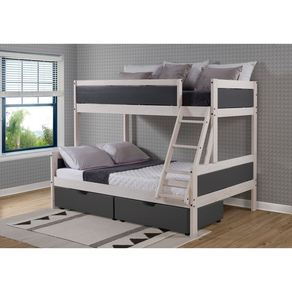 Twin over Full Panel Bunk Bed with Drawers or Trundle