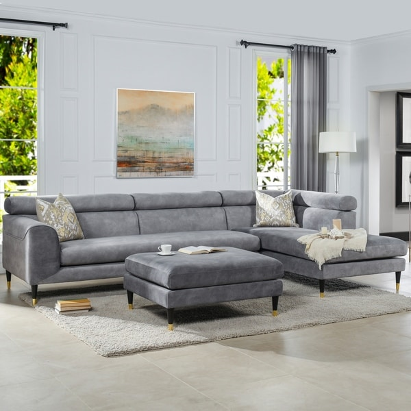 """Hayes RAF Modular Sectional Chaise Sofa with Ottoman - 129.5""""L X 72.5""""W X 33.5""""H"""