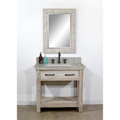 "36""Rustic Solid Fir Single Sink Bathroom Vanity with Coastal Sand Marble Top-No Faucet"