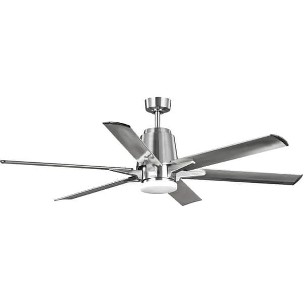 Indoor Outdoor Six Blade Brushed Nickel