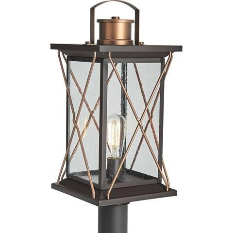 "Barlowe Collection Antique Bronze One-Light Post Lantern - 19.300"" x 12.400"" x 12.400"""