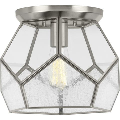 """Cinq Collection Brushed Nickel One-Light 12"""" Flush Mount - 12.600"""" x 14.200"""" x 14.200"""""""