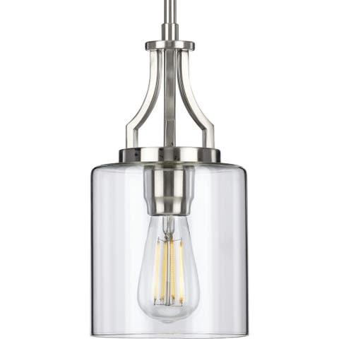 """Lassiter Collection Brushed Nickel One-Light Mini-Pendant - 14.700"""" x 8.320"""" x 8.320"""""""