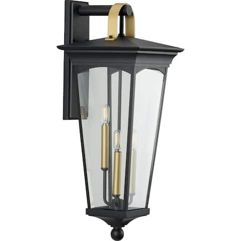 "Chatsworth Collection Black Three-Light Large Wall Lantern - 31.300"" x 15.550"" x 14.570"""