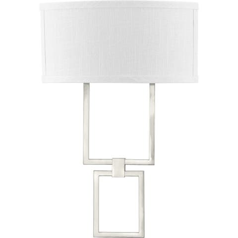 LED Shaded Sconce Collection Brushed Nickel One-Light Square Wall Sconce