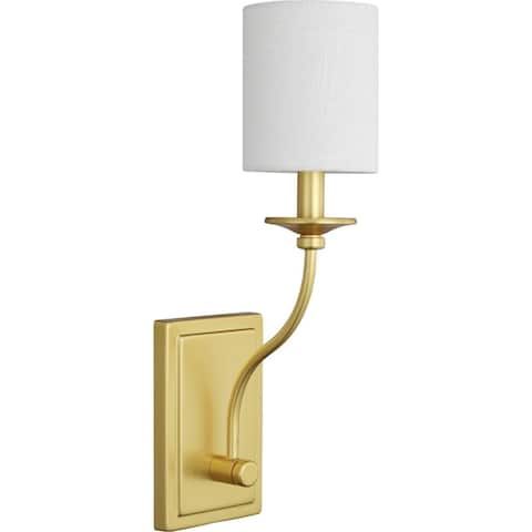 "Bonita Collection Satin Brass One-Light Wall Sconce - 14.170"" x 6.500"" x 8.270"""
