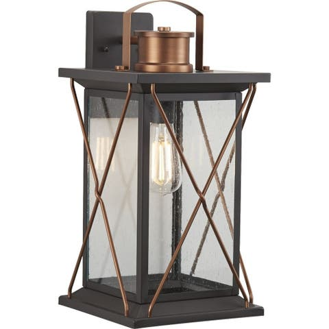 "Barlowe Collection Antique Bronze One-Light Large Wall Lantern - 21.850"" x 12.800"" x 12.400"""
