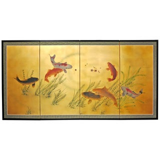 Gold Leaf Seven Lucky Fish Silk Screen (China)