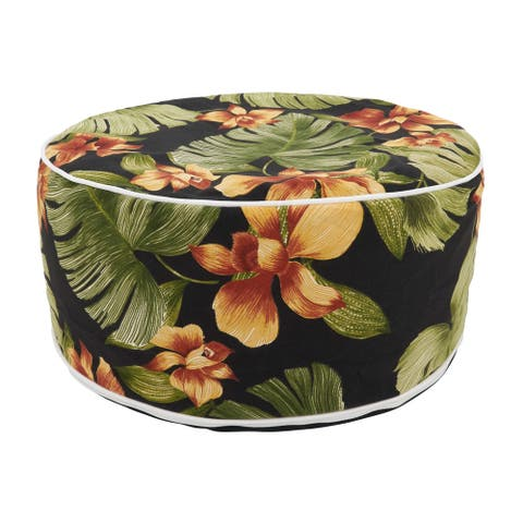 Outdoor Ottoman with Tropical Leaf Design
