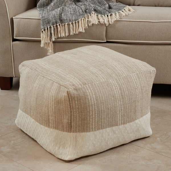 Cotton Floor Pouf With Two-Tone Design