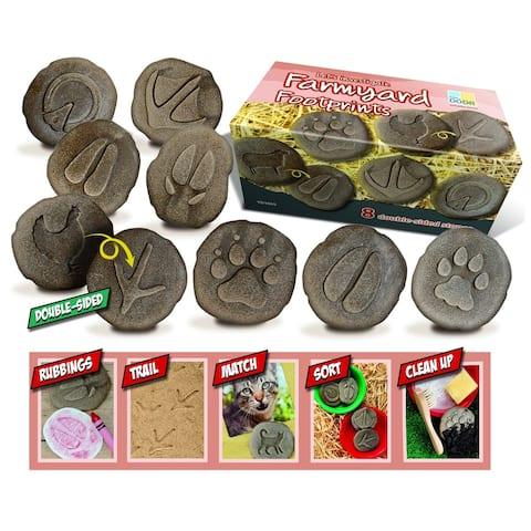 Yellow Door® Let's Investigate Farmyard Footprints Stone, Pack of 8
