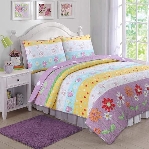 Taylor & Olive Purple/ White Floral Heart Reversible Quilt Set