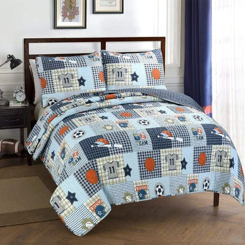 Taylor & Olive Blue Patchwork/ Sports Quilt Set