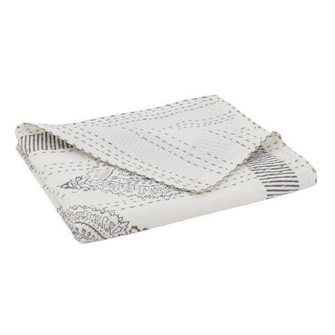 Taj Stitch Throw with Block Print Design