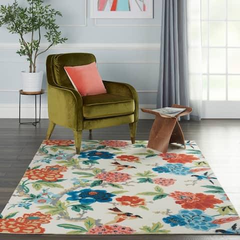 Waverly Sun N' Shade Floral Orange, Red, Bue Indoor/Outdoor Rug