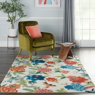 Link to Waverly Sun N' Shade Floral Orange, Red, Bue Indoor/Outdoor Rug Similar Items in Rugs