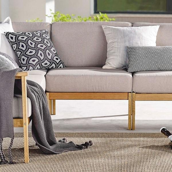 Shop Sedona Outdoor Patio Eucalyptus Wood Sectional Sofa ... on Safavieh Ransin id=17252