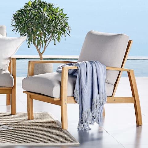 Orlean Outdoor Patio Eucalyptus Wood Lounge Armchair